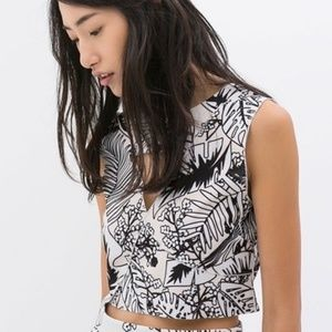 Zara B&W Collection Tropical Crop Top Size M